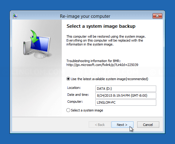 Select system image to restore