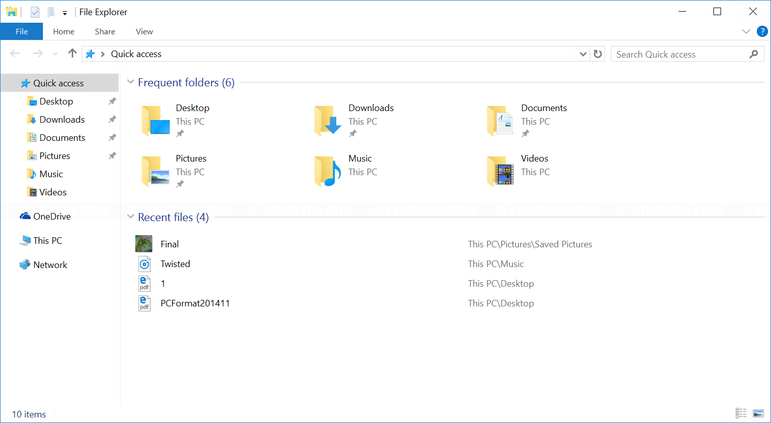 Windows 10 file explorer's quick access