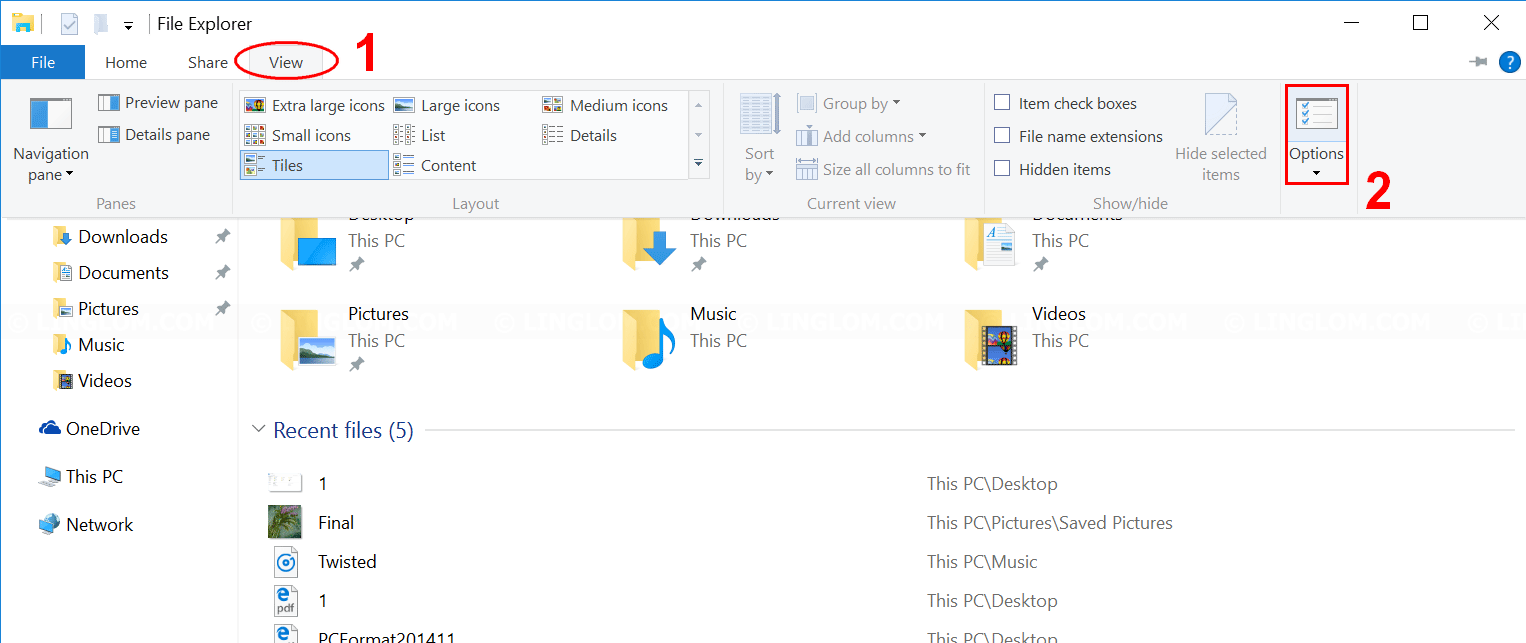 Open Folder Options on Windows 10