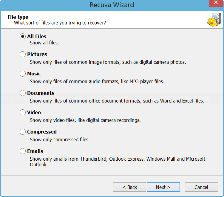 Select file type to recover on Recuva