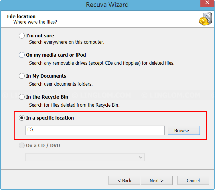 Select file location to scan on Recuva