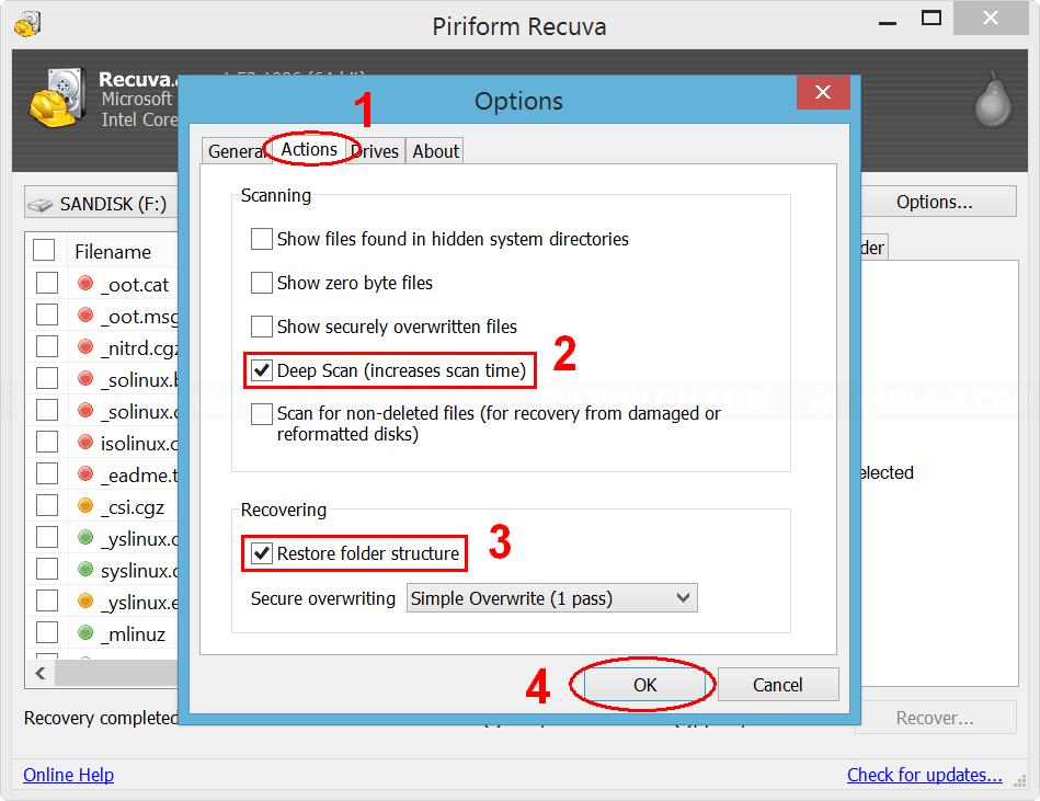 Configure options on Recuva