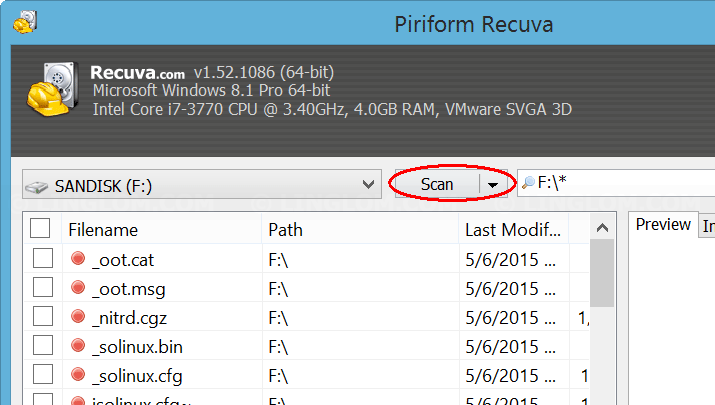 Start scan files on Recuva
