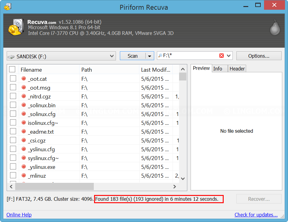 Scanning result on Recuva