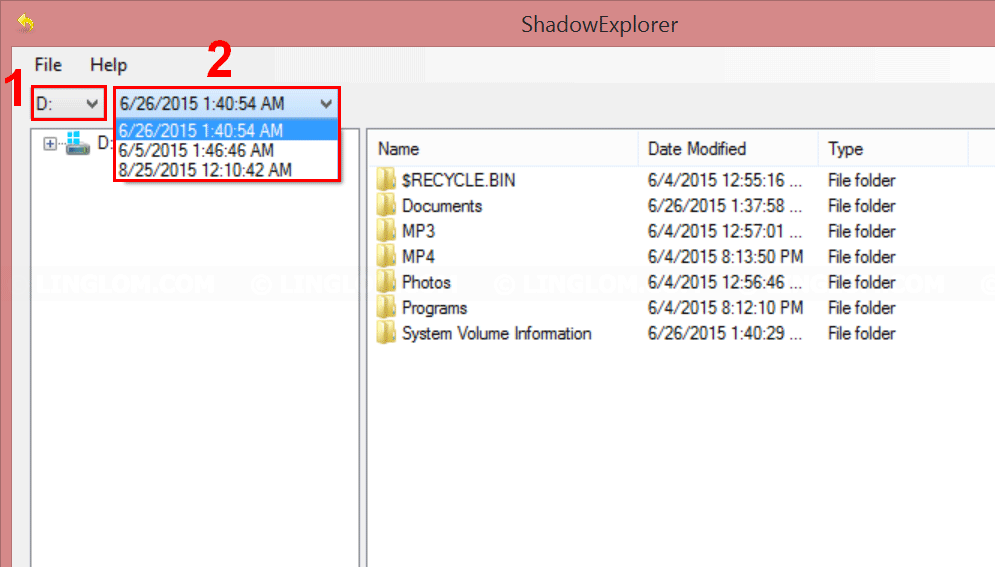 Select date/time snapshot to restore on Shadow Explorer