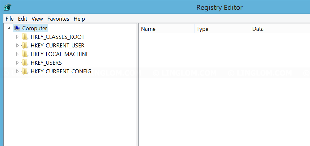 Registry editor window