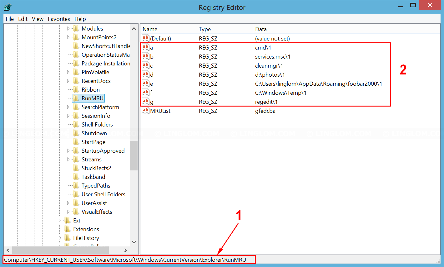Run history in registry editor