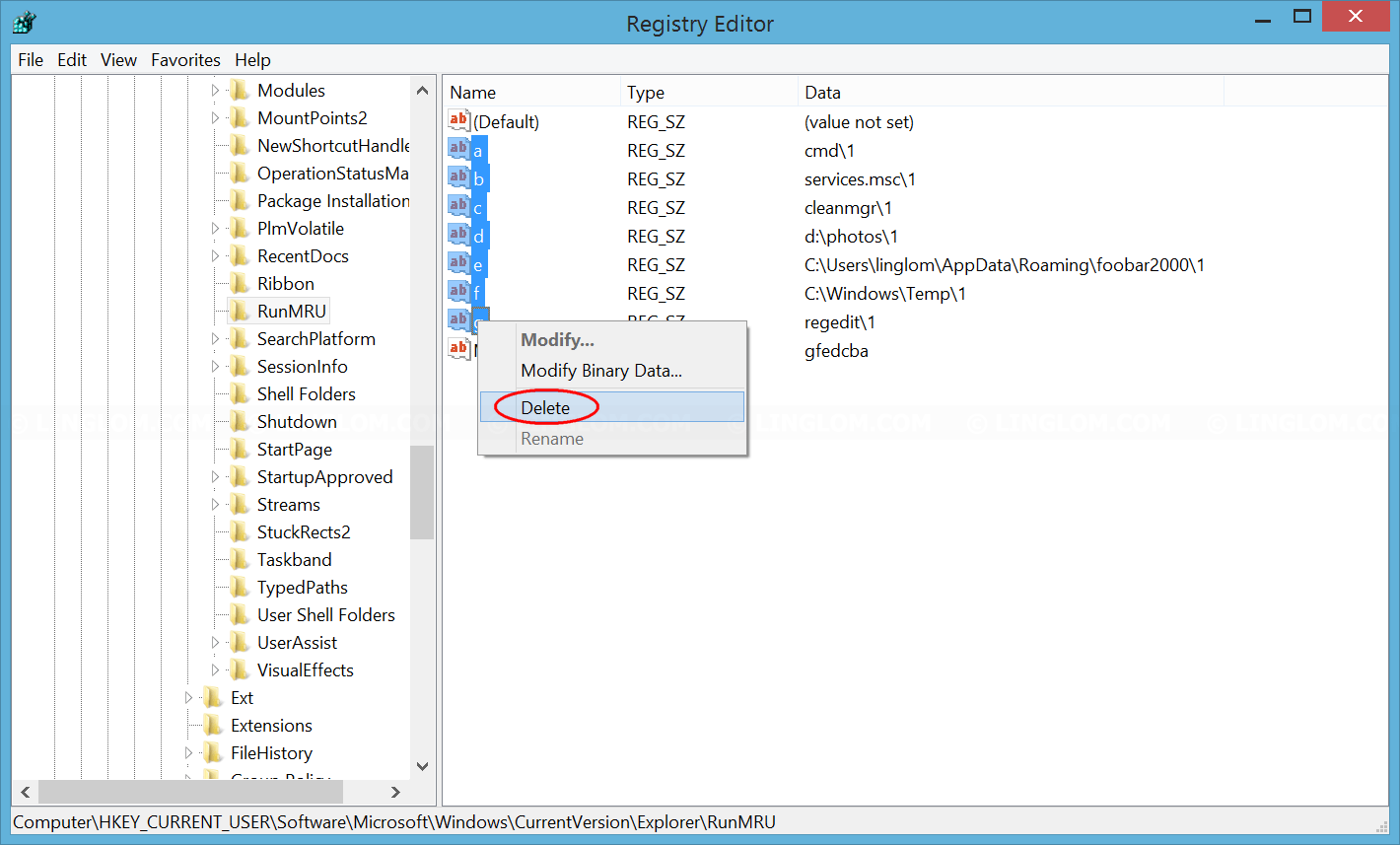 Delete registry entries