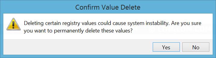 Confirm delete key on registry editor