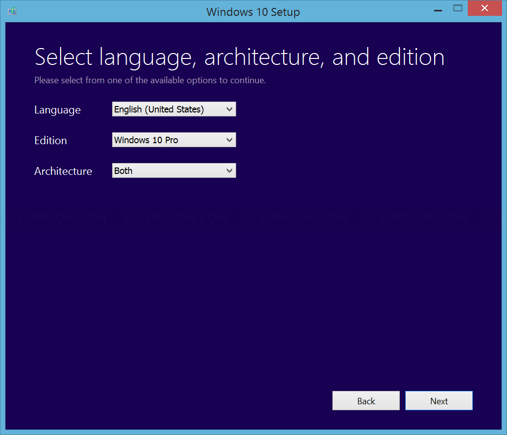 Select Windows 10 language, edition, and architecture