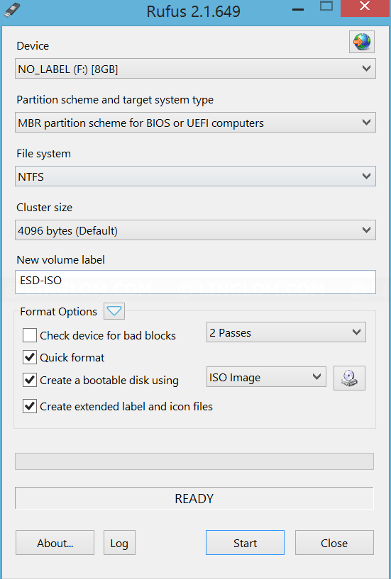 Create bootable USB with Rufus