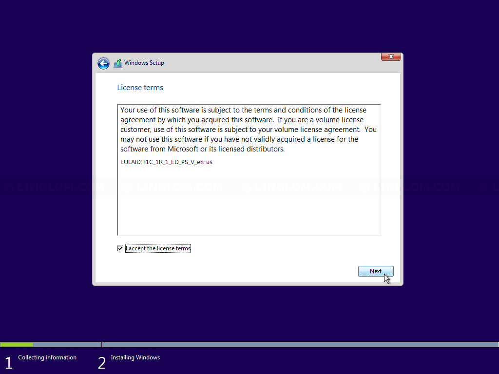 Accept Windows 10 license terms