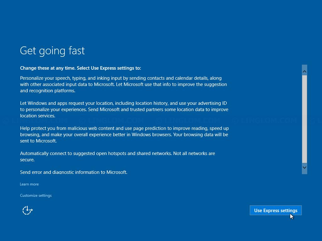Select 'Use Express setting'
