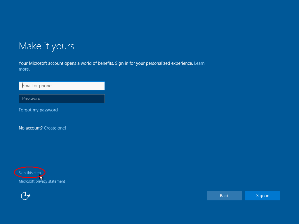 Select if you want to sign with Microsoft account or create local account