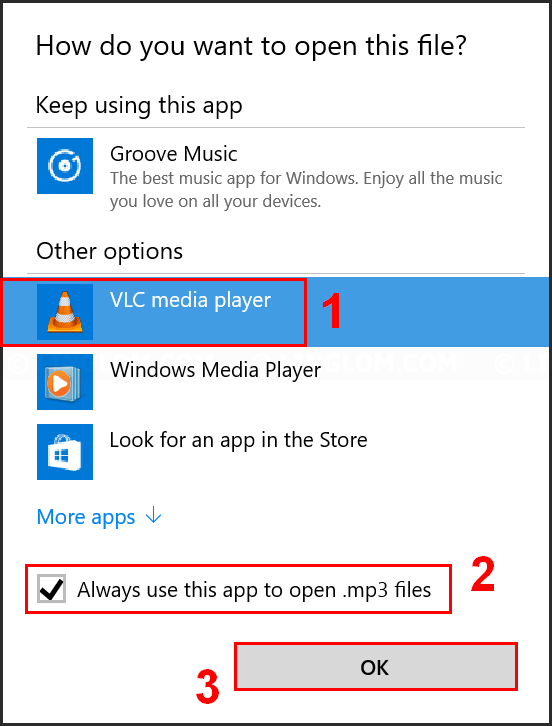 Select default app or program