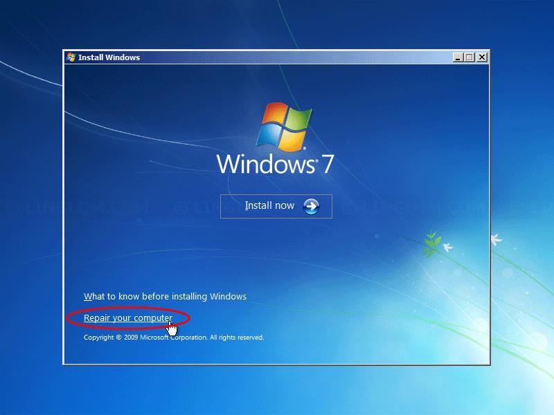 Select 'Repair your computer'