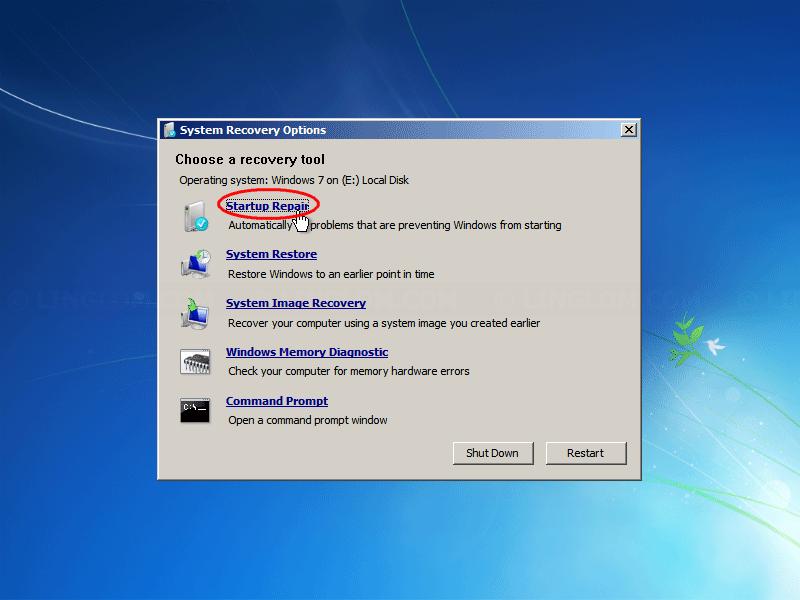 Select 'Startup Repair'