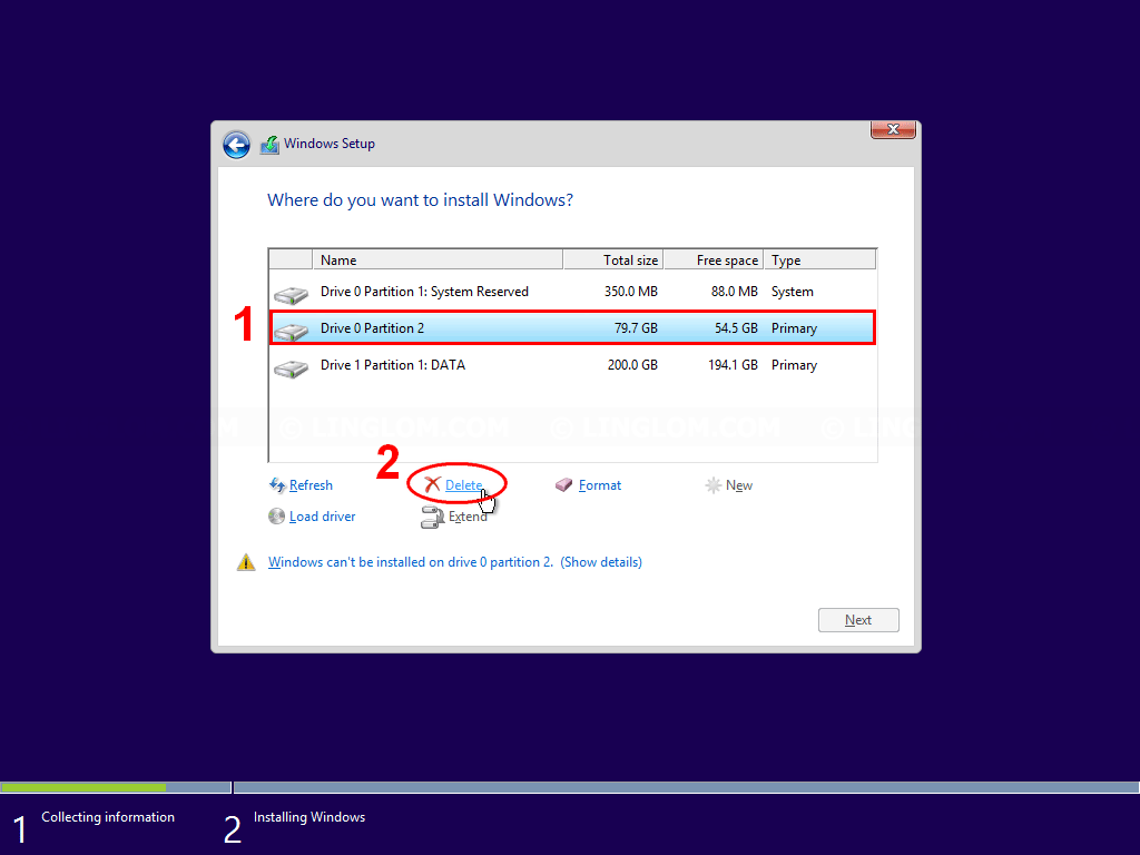 Delete a partition on the disk