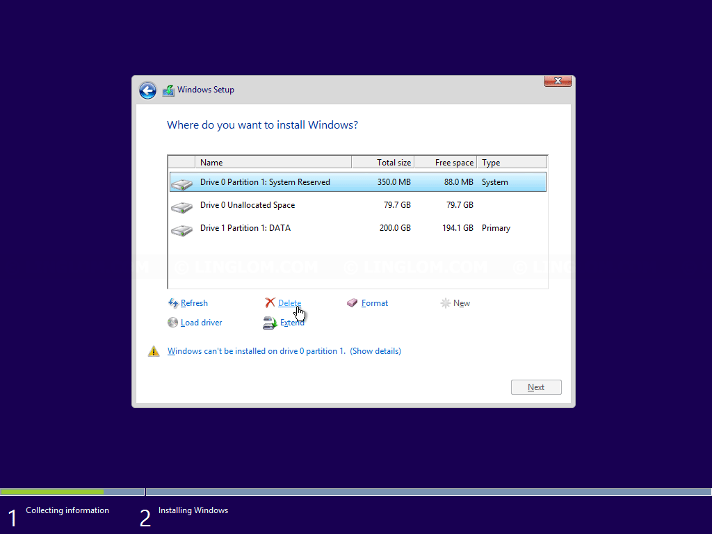 Delete other partitions on the disk