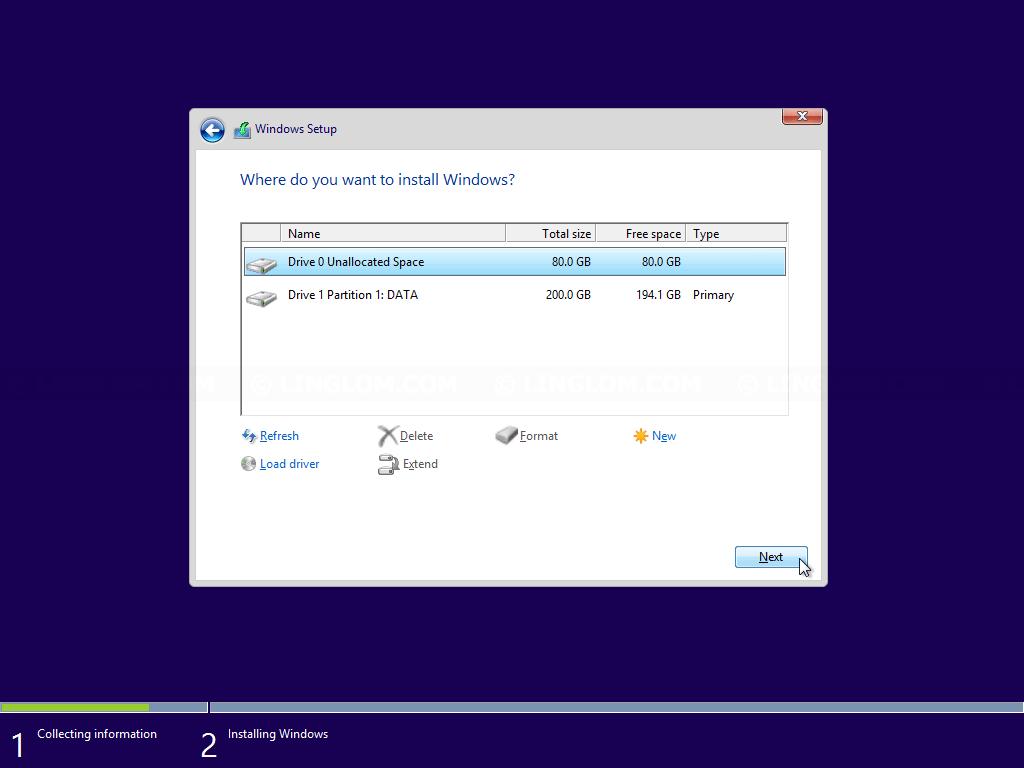 Windows Setup - Select a disk