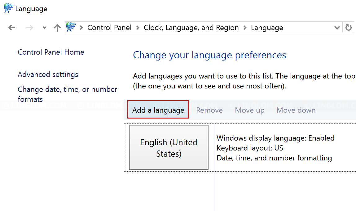 Add a new language on Windows 10
