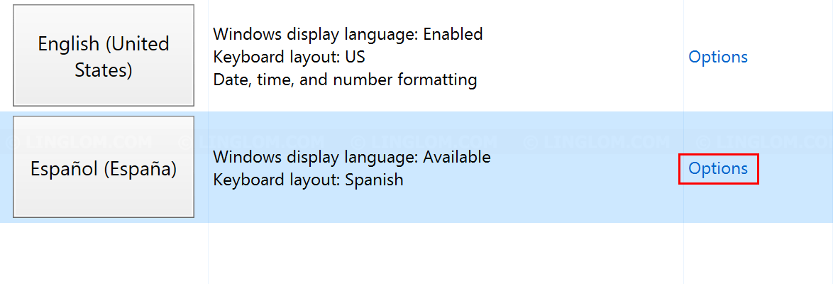 Select Options on the language
