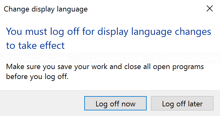 Log off Windows 10