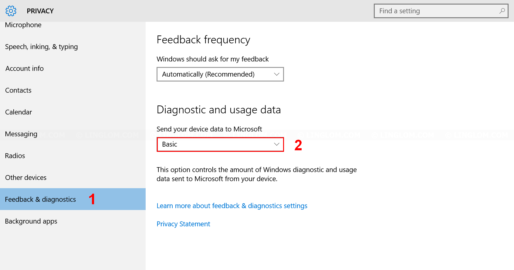 Limit diagnostic and usage data sent to Microsoft