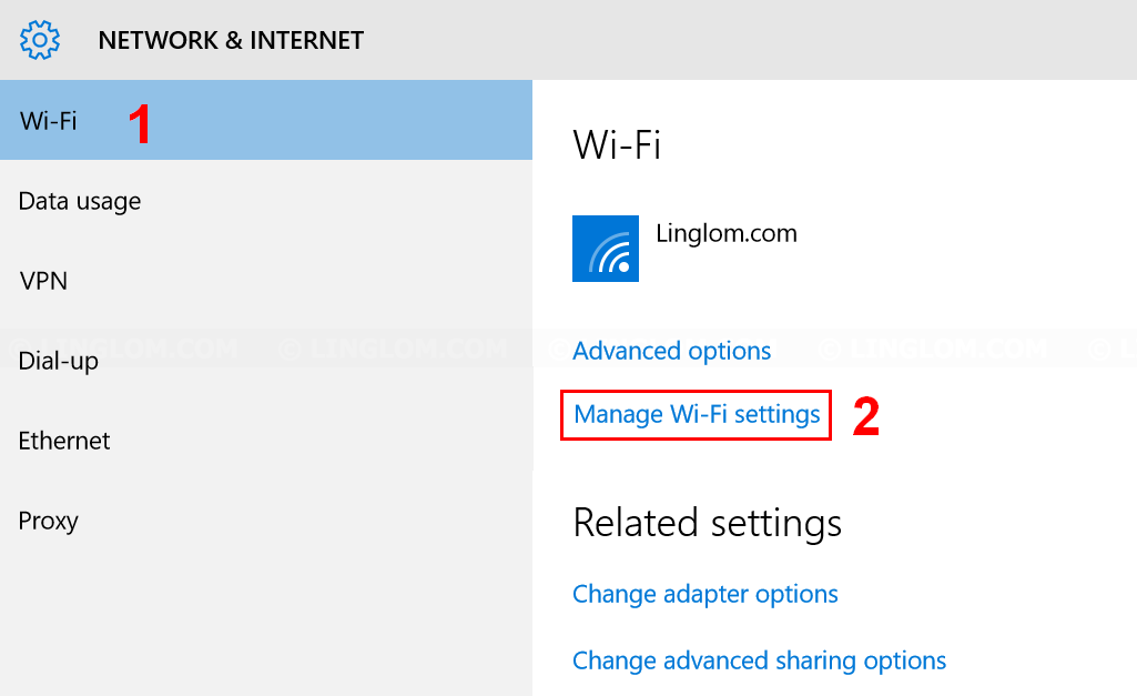 Open Manage Wi-Fi settings