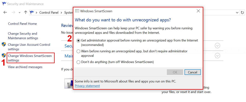 Configure Windows SmartScreen settings