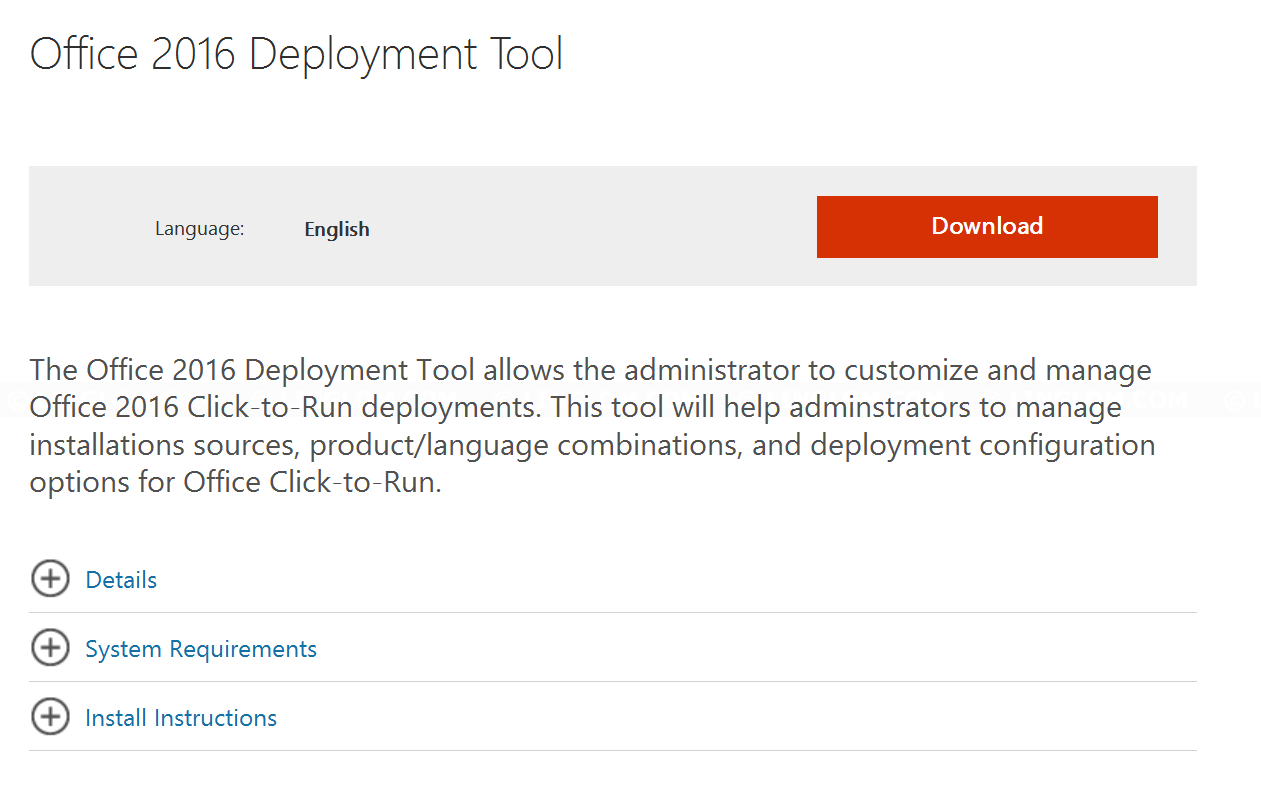 Download Office 2016 Deployment Tool