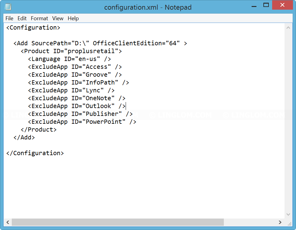 Modify configuration.xml