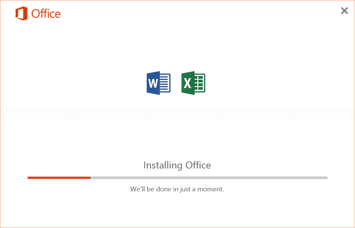 Office 2016 is customized and installing