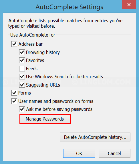 Open 'Manage Passwords' on IE