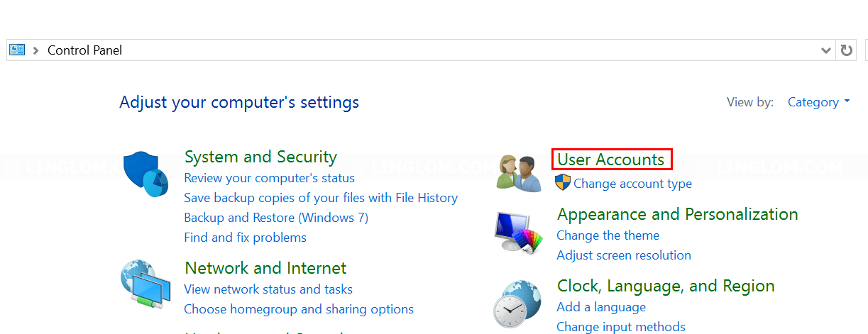 Select 'User Accounts'