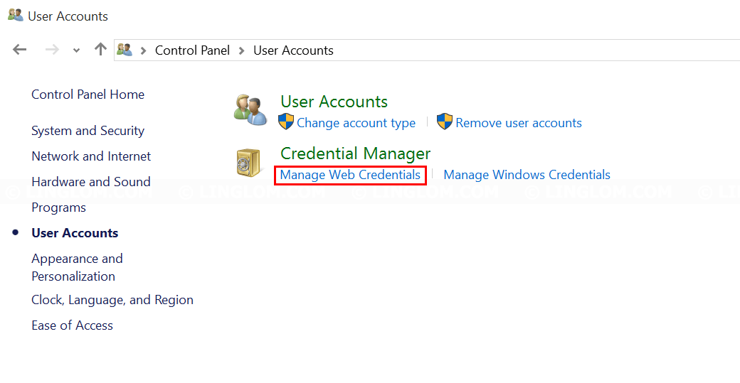 Select 'Manage Web Credentials'