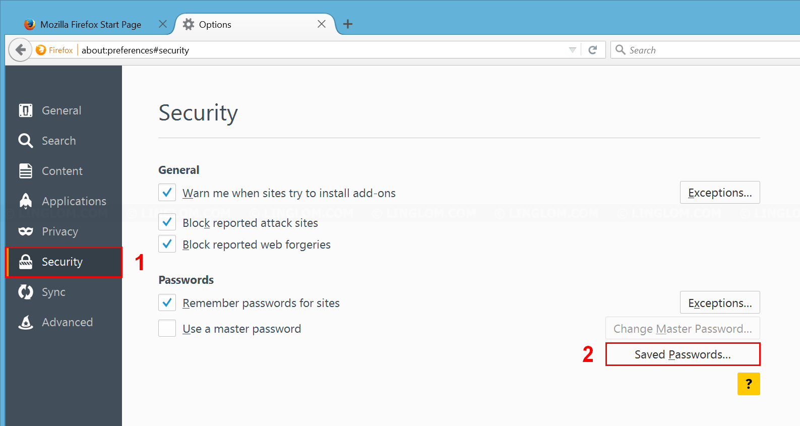 Open 'Saved Passwords' on Firefox