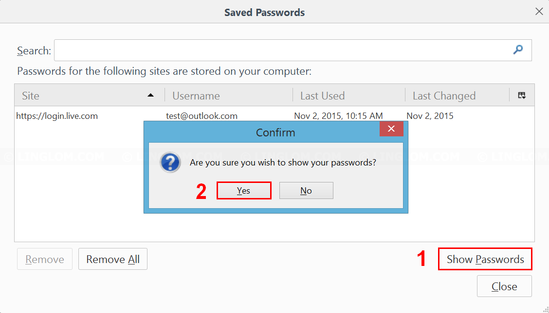 Show passwords on Firefox