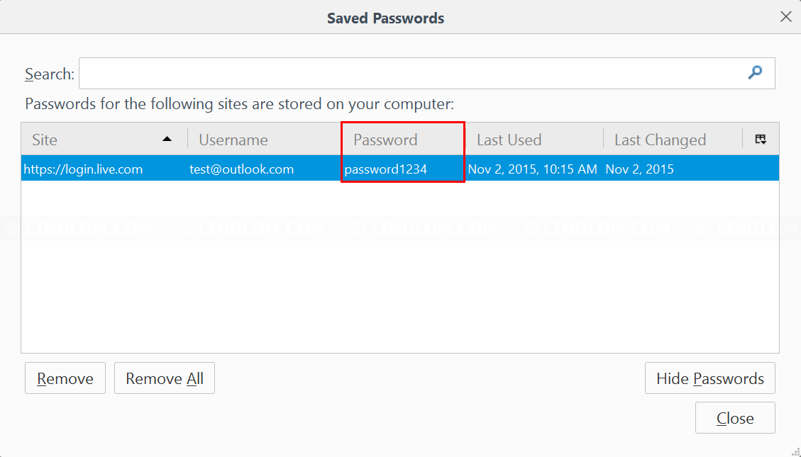 Saved passwords are displayed