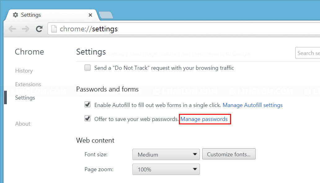 Click 'Manage passwords on Chrome