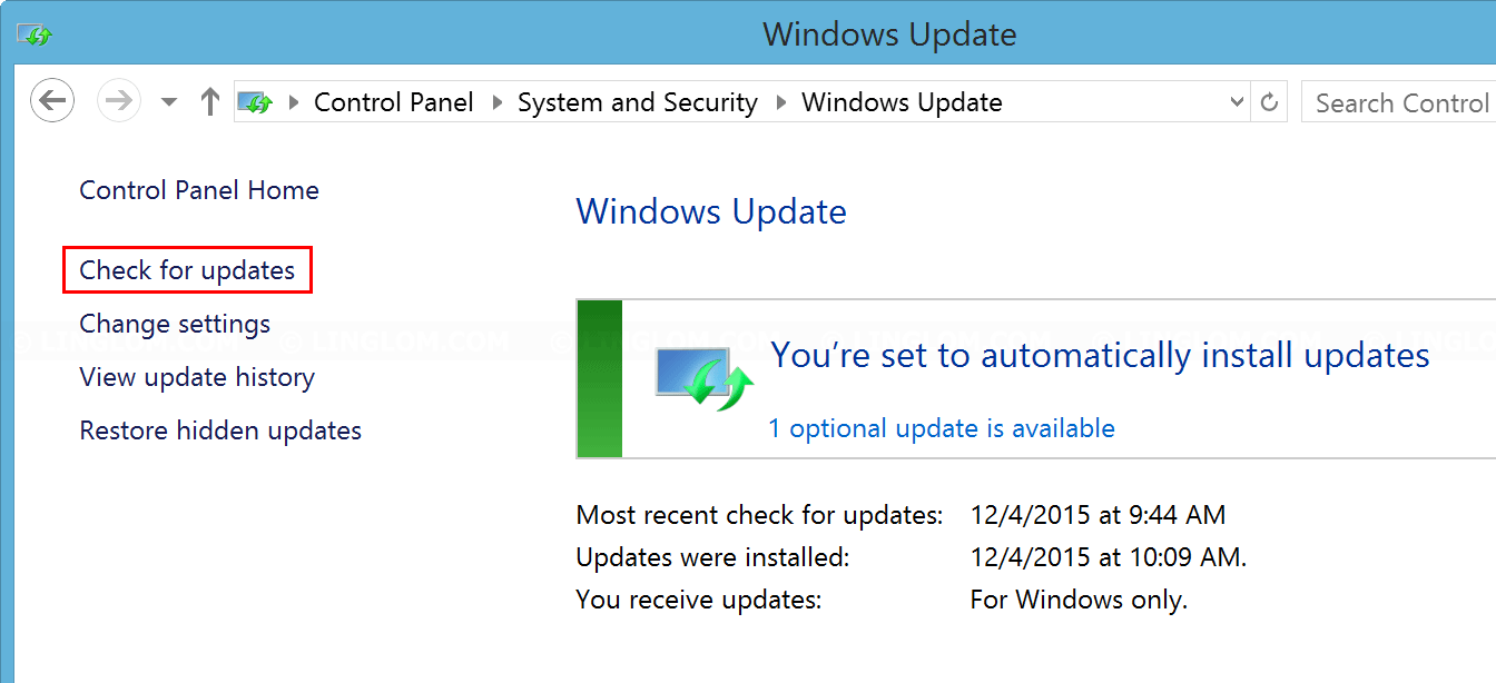 Check Windows updates