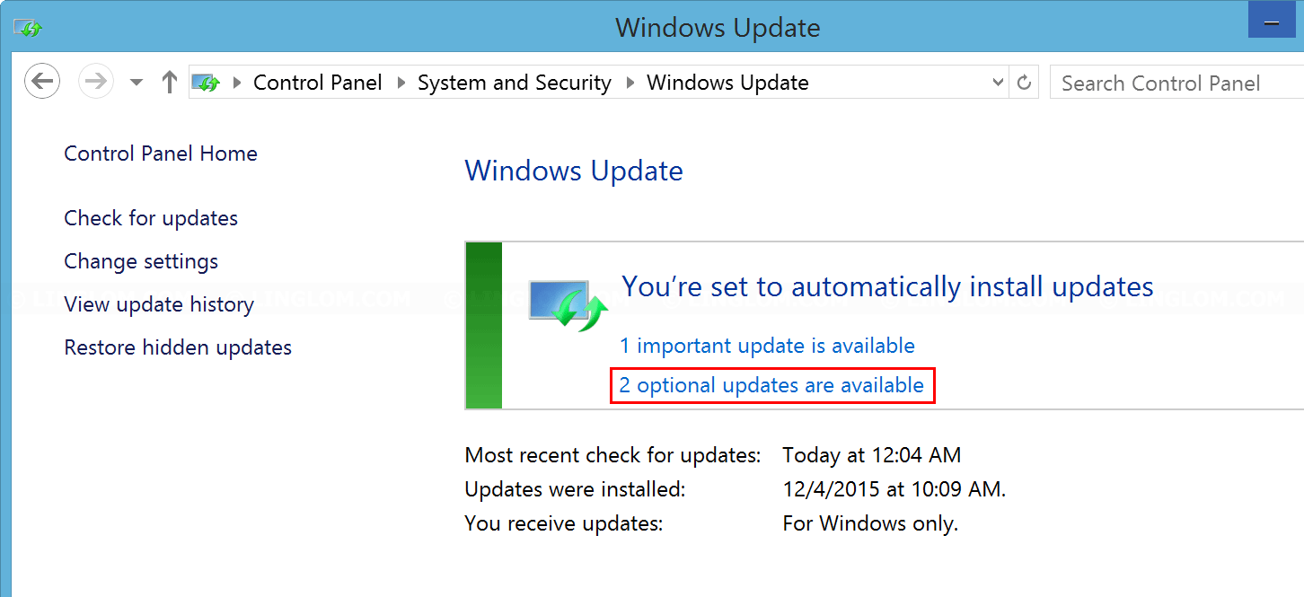 Select optional updates