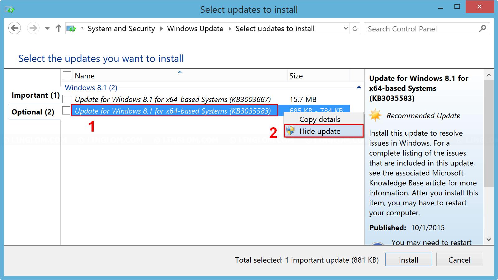 Hide update KB3035583