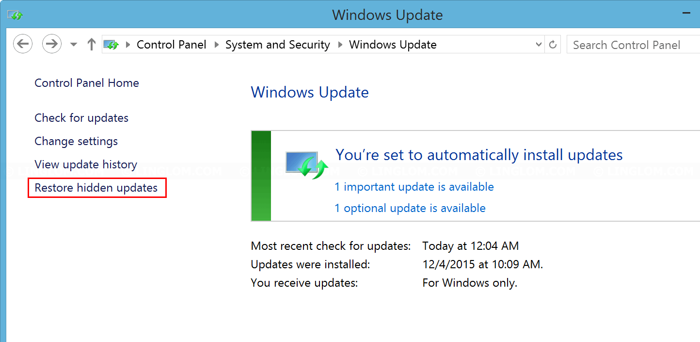 Restore hidden updates