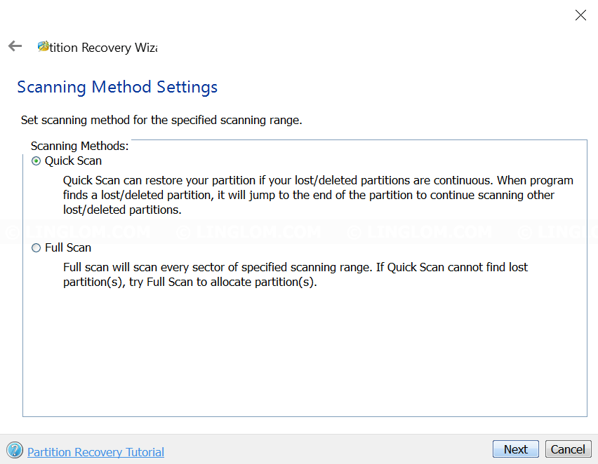 MiniTool Partition Wizard - Select scanning method