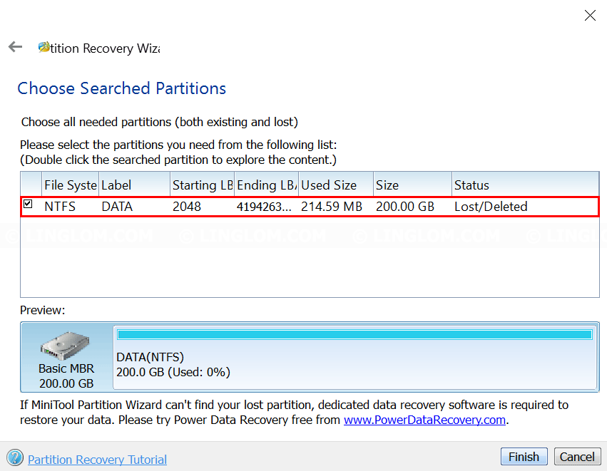 MiniTool Partition Wizard - Select partition to recover