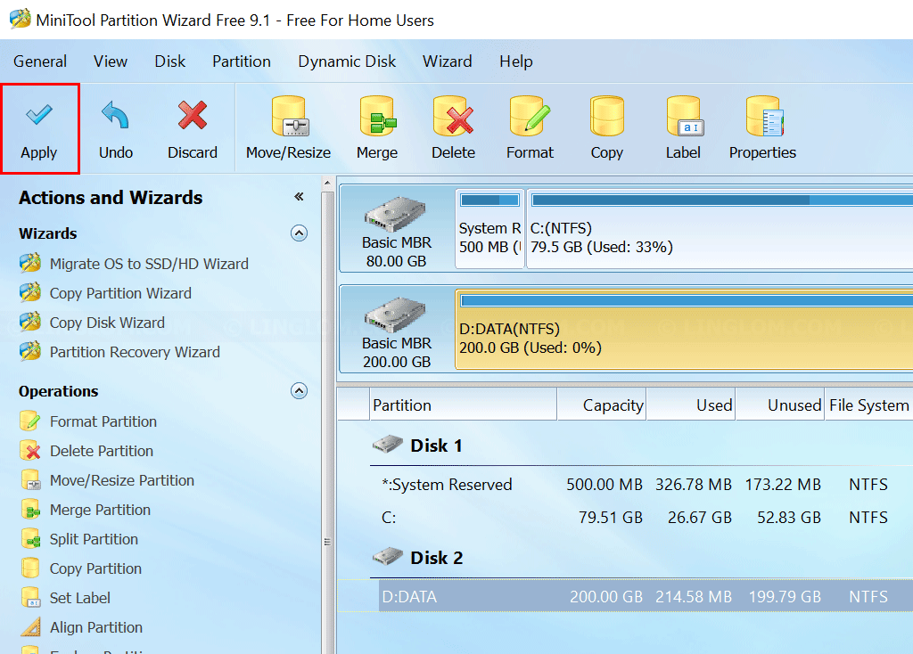 MiniTool Partition Wizard - Apply changes