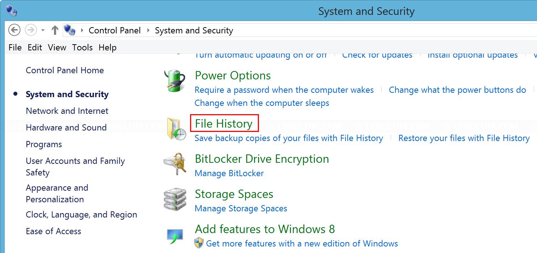 Select File History