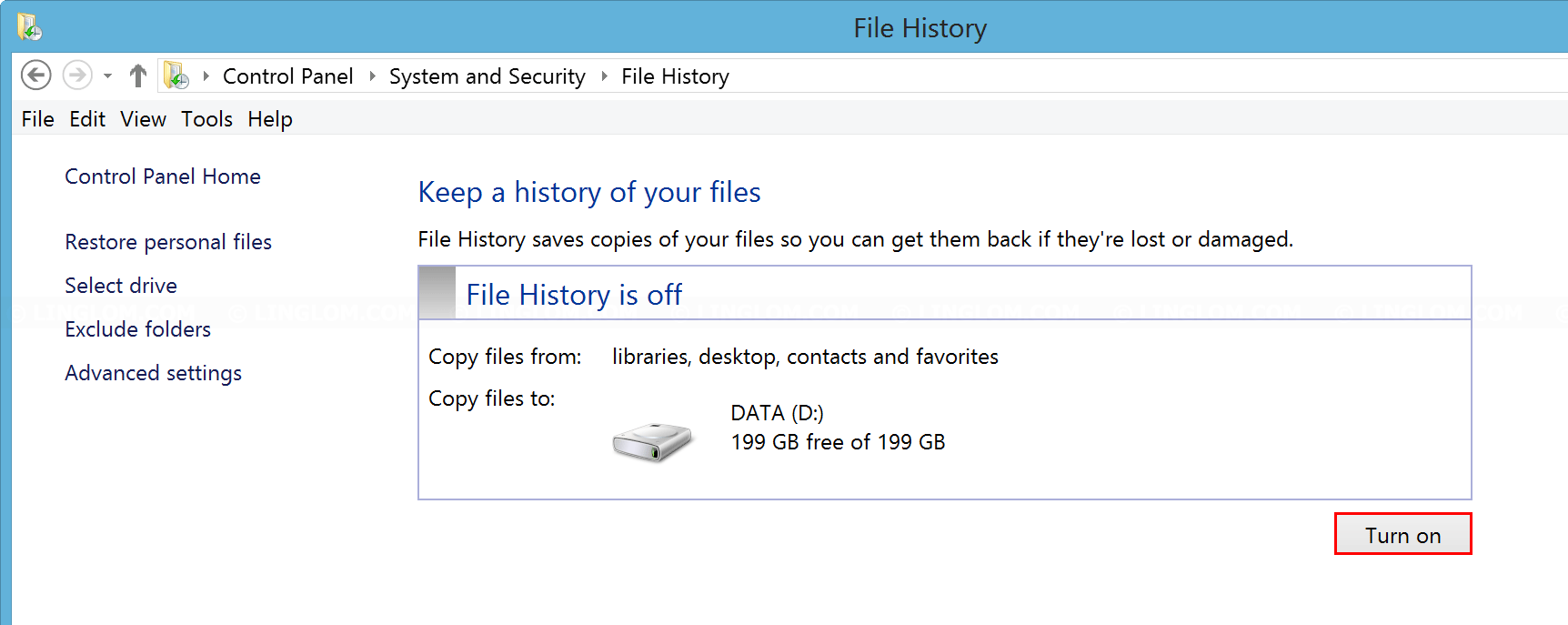 Turn on File History