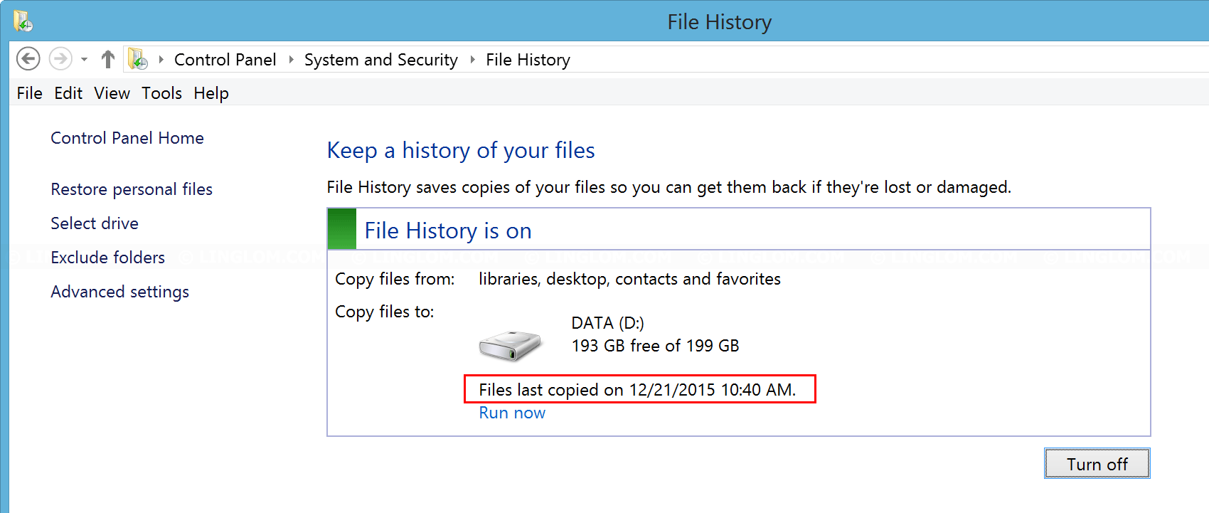 Backup with File History